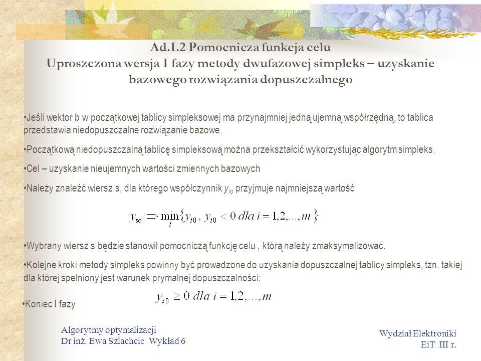 . Wydział Elektroniki EiT III r. Algorytmy optymalizacji Dr inż. Ewa Szlachcic Wykład 6 Ad.I.2 Pomocnicza funkcja celu Uproszczona wersja I fazy metod