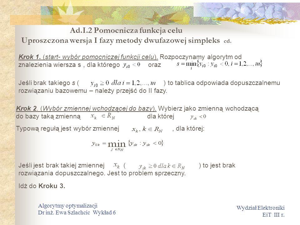 . Wydział Elektroniki EiT III r. Algorytmy optymalizacji Dr inż. Ewa Szlachcic Wykład 6 Krok 1. (start- wybór pomocniczej funkcji celu). Rozpoczynamy