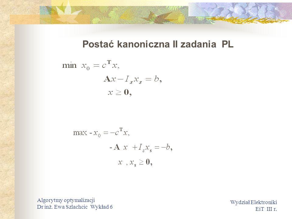 . Wydział Elektroniki EiT III r. Algorytmy optymalizacji Dr inż. Ewa Szlachcic Wykład 6 Postać kanoniczna II zadania PL