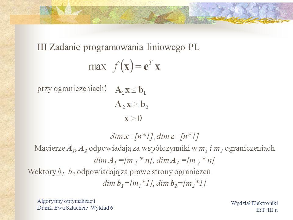. Wydział Elektroniki EiT III r. Algorytmy optymalizacji Dr inż. Ewa Szlachcic Wykład 6 III Zadanie programowania liniowego PL przy ograniczeniach : d
