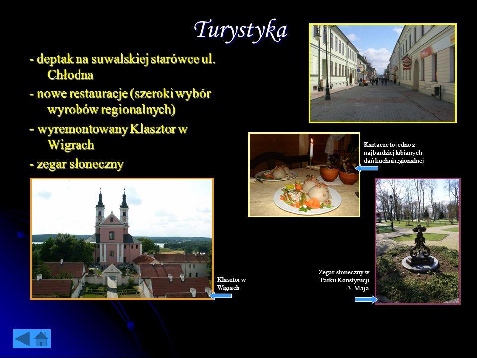 Turystyka - deptak na suwalskiej starówce ul. Chłodna - nowe restauracje (szeroki wybór wyrobów regionalnych) - wyremontowany Klasztor w Wigrach - zeg