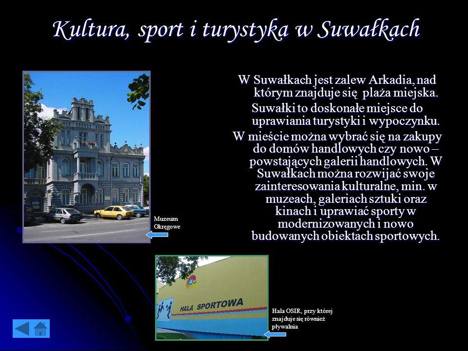 Kultura, sport i turystyka w Suwałkach W Suwałkach jest zalew Arkadia, nad którym znajduje się plaża miejska. Suwałki to doskonałe miejsce do uprawian