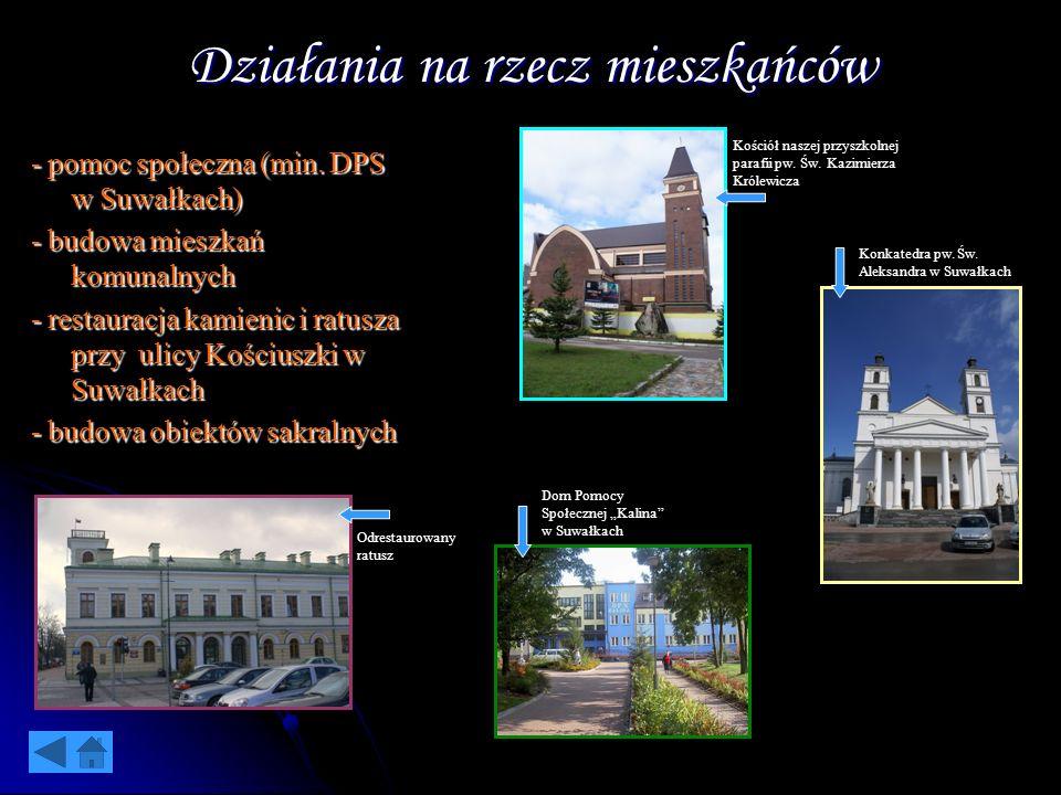 Działania na rzecz mieszkańców - pomoc społeczna (min. DPS w Suwałkach) - budowa mieszkań komunalnych - restauracja kamienic i ratusza przy ulicy Kośc