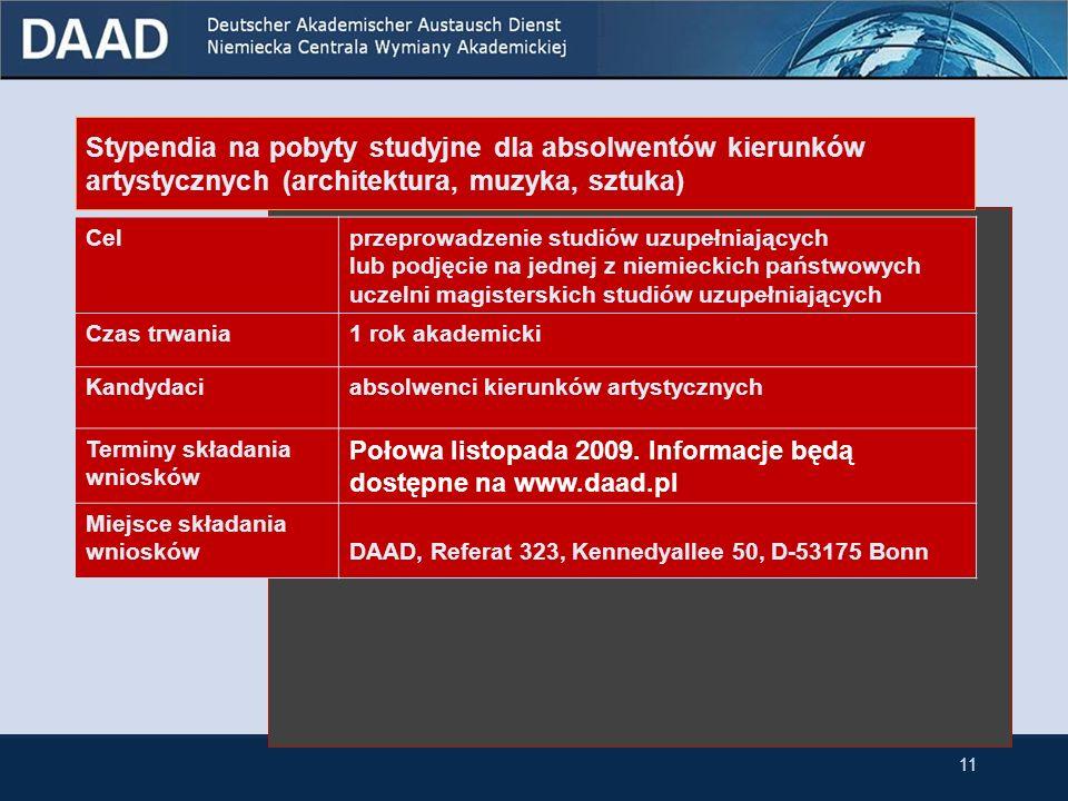 Stypendia na pobyty studyjne dla absolwentów wszystkich kierunków Celpodjęcie na jednej z niemieckich uczelni studiów podyplomowych lub magisterskich