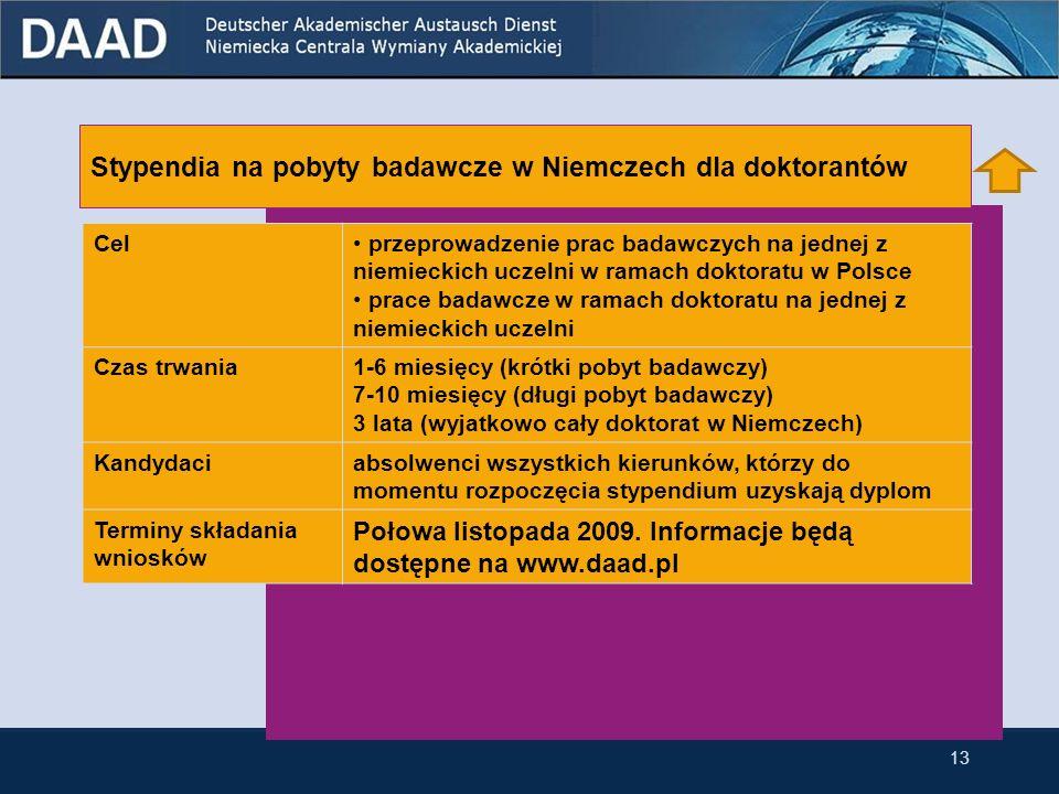 12 Stypendia na pobyty badawcze w Niemczech dla doktorantów Stypendia na pobyty badawcze w Niemczech dla doktorantów przynależących do niemieckiej mniejszości narodowej w Polsce 3 Stypendia dla doktorantów