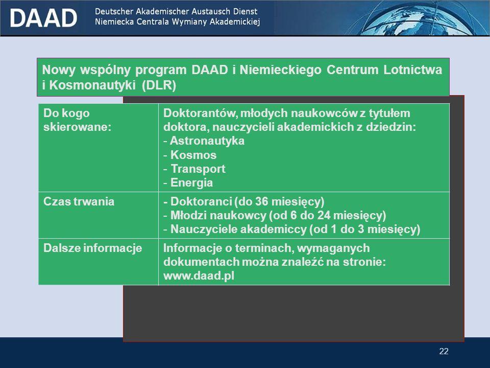 Wspólny program DAAD i Ministerstwa Nauki i Szkolnictwa Wyższego (MNiSW) Celwspieranie współpracy między polskimi i niemieckimi grupami naukowców Czas trwaniamaksymalnie 2 lata Kandydacigrupy naukowców z tytułem naukowym co najmniej doktora Terminy składania wniosków 31 lipca (finansowanie projektów od pierwszego stycznia kolejnego roku).