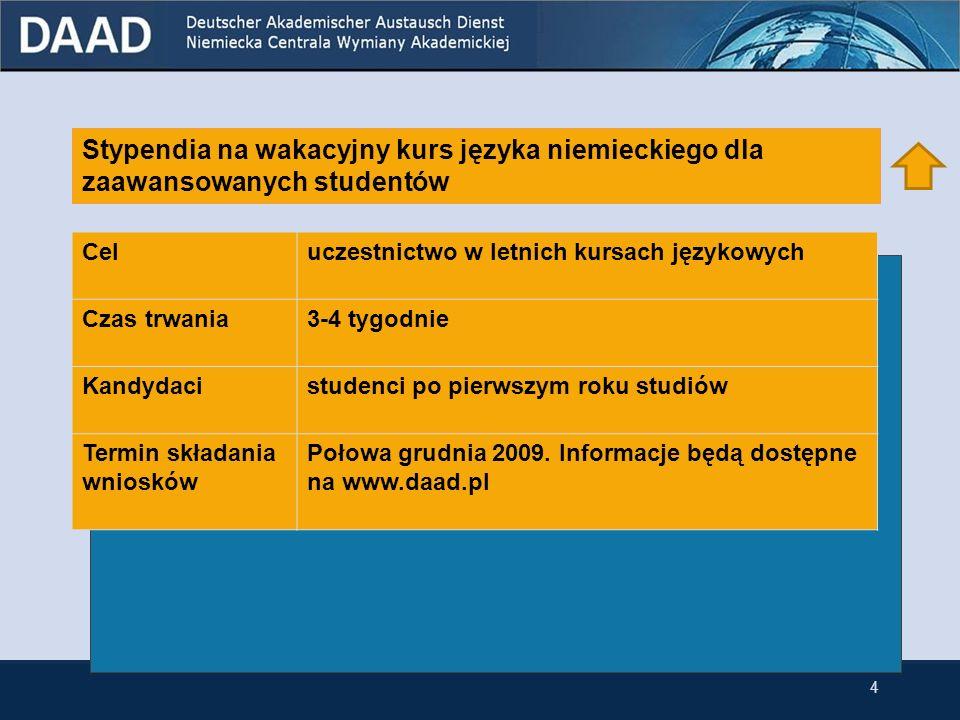 Stypendia na pobyty badawcze w Niemczech dla doktorantów przynależących do niemieckiej mniejszości narodowej w Polsce Celprzeprowadzenie prac badawczych na jednej z niemieckich uczelni w ramach doktoratu w Polsce Czas trwania1-6 miesięcy Kandydaciabsolwenci wszystkich kierunków przynależących do niemieckiej mniejszości narodowej, którzy do momentu rozpoczęcia stypendium uzyskają dyplom Terminy składania wniosków Połowa grudnia 2009.