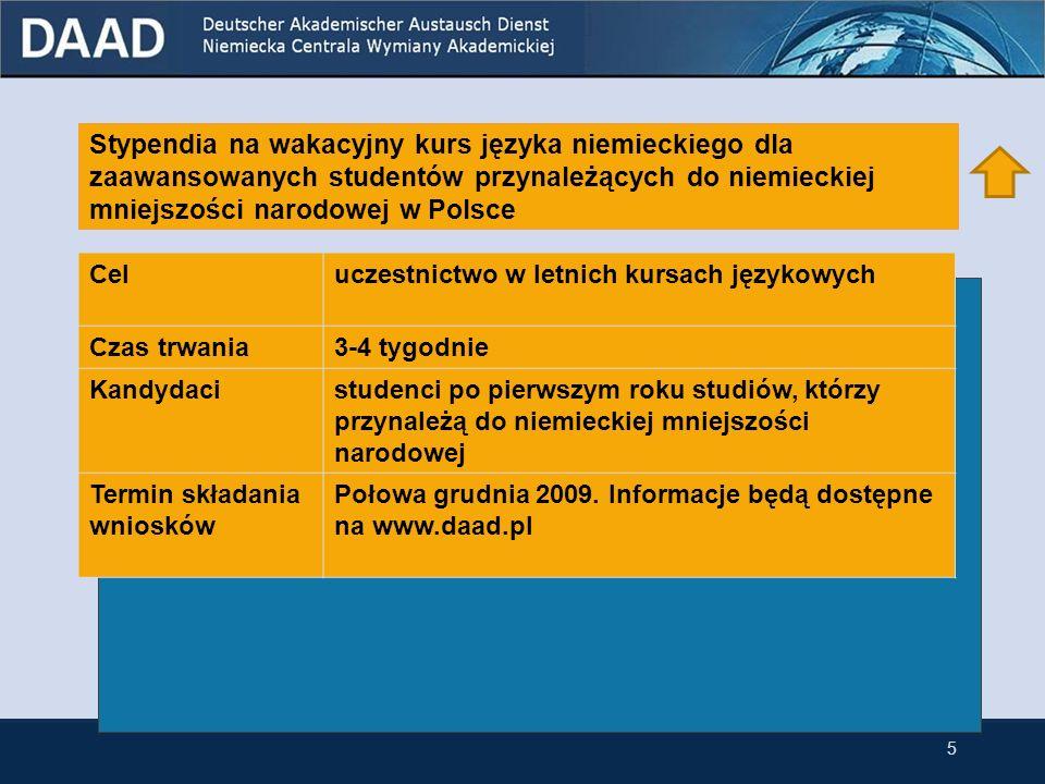 Stypendia na wakacyjny kurs języka niemieckiego dla zaawansowanych studentów Celuczestnictwo w letnich kursach językowych Czas trwania3-4 tygodnie Kandydacistudenci po pierwszym roku studiów Termin składania wniosków Połowa grudnia 2009.