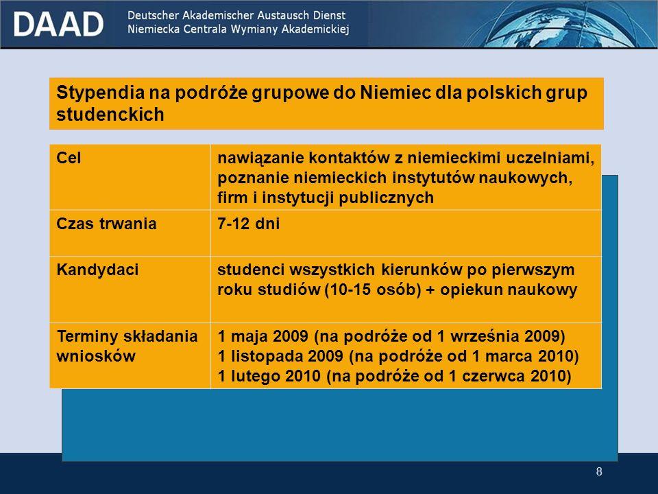 Stypendia na podróże grupowe do Niemiec dla polskich grup studenckich Celnawiązanie kontaktów z niemieckimi uczelniami, poznanie niemieckich instytutów naukowych, firm i instytucji publicznych Czas trwania7-12 dni Kandydacistudenci wszystkich kierunków po pierwszym roku studiów (10-15 osób) + opiekun naukowy Terminy składania wniosków 1 maja 2009 (na podróże od 1 września 2009) 1 listopada 2009 (na podróże od 1 marca 2010) 1 lutego 2010 (na podróże od 1 czerwca 2010) 8