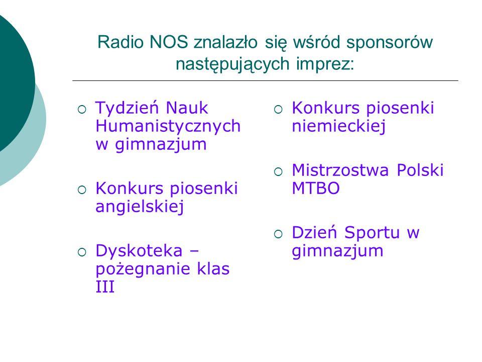 Radio NOS znalazło się wśród sponsorów następujących imprez: Tydzień Nauk Humanistycznych w gimnazjum Konkurs piosenki angielskiej Dyskoteka – pożegna