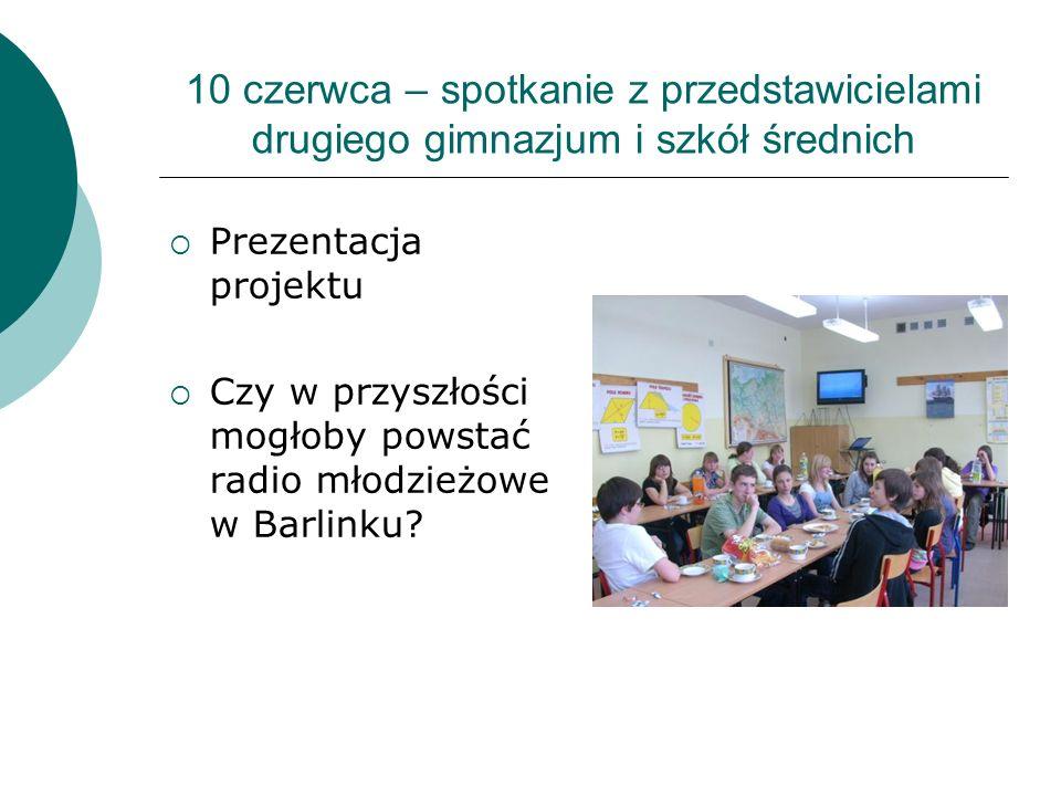 10 czerwca – spotkanie z przedstawicielami drugiego gimnazjum i szkół średnich Prezentacja projektu Czy w przyszłości mogłoby powstać radio młodzieżow