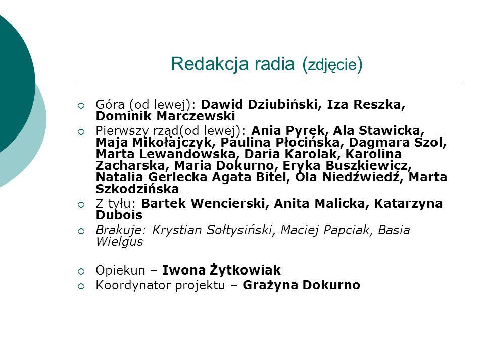 Redakcja radia ( zdjęcie ) Góra (od lewej): Dawid Dziubiński, Iza Reszka, Dominik Marczewski Pierwszy rząd(od lewej): Ania Pyrek, Ala Stawicka, Maja M