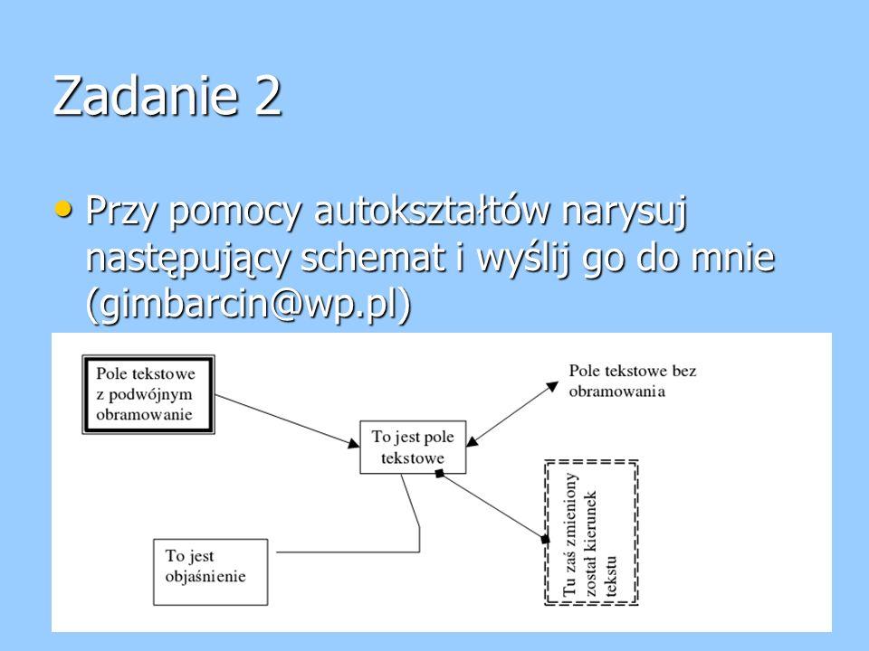 Zadanie 2 Przy pomocy autokształtów narysuj następujący schemat i wyślij go do mnie (gimbarcin@wp.pl) Przy pomocy autokształtów narysuj następujący sc