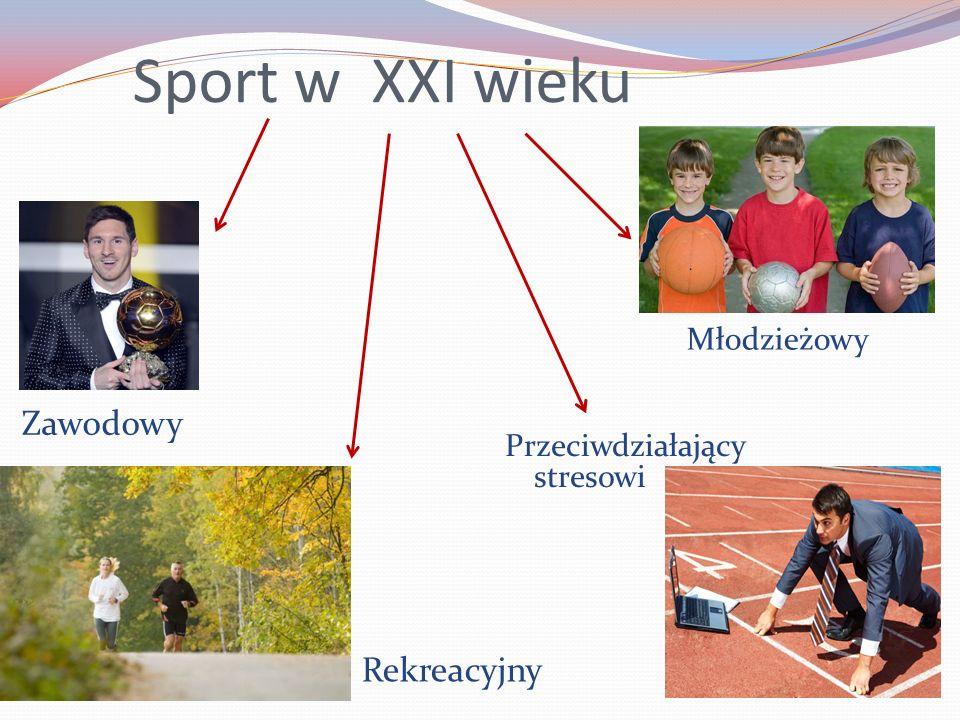 Sport w XXI wieku Zawodowy Rekreacyjny Przeciwdziałający stresowi Młodzieżowy