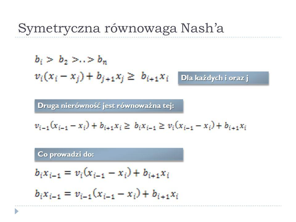 Symetryczna równowaga Nasha Dla każdych i oraz j Druga nierówność jest równoważna tej: Co prowadzi do:
