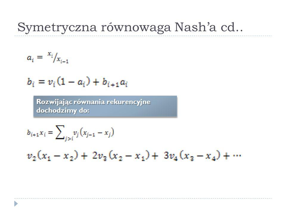 Symetryczna równowaga Nasha cd.. Rozwijając równania rekurencyjne dochodzimy do: