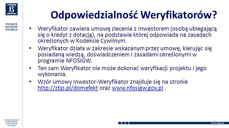 Odpowiedzialność Weryfikatorów? Weryfikator zawiera umowę zlecenia z Inwestorem (osobą ubiegającą się o kredyt z dotacją), na podstawie której odpowia