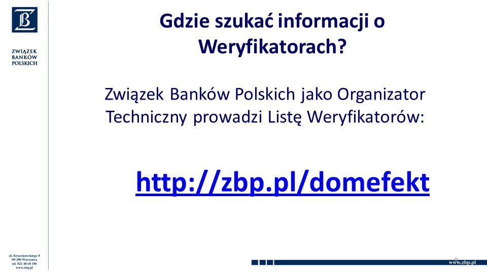 Gdzie szukać informacji o Weryfikatorach? Związek Banków Polskich jako Organizator Techniczny prowadzi Listę Weryfikatorów: http://zbp.pl/domefekt 9