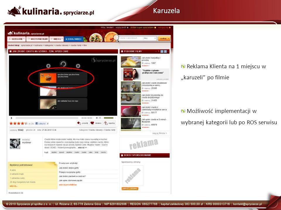 Karuzela Reklama Klienta na 1 miejscu w karuzeli po filmie Możliwość implementacji w wybranej kategorii lub po ROS serwisu