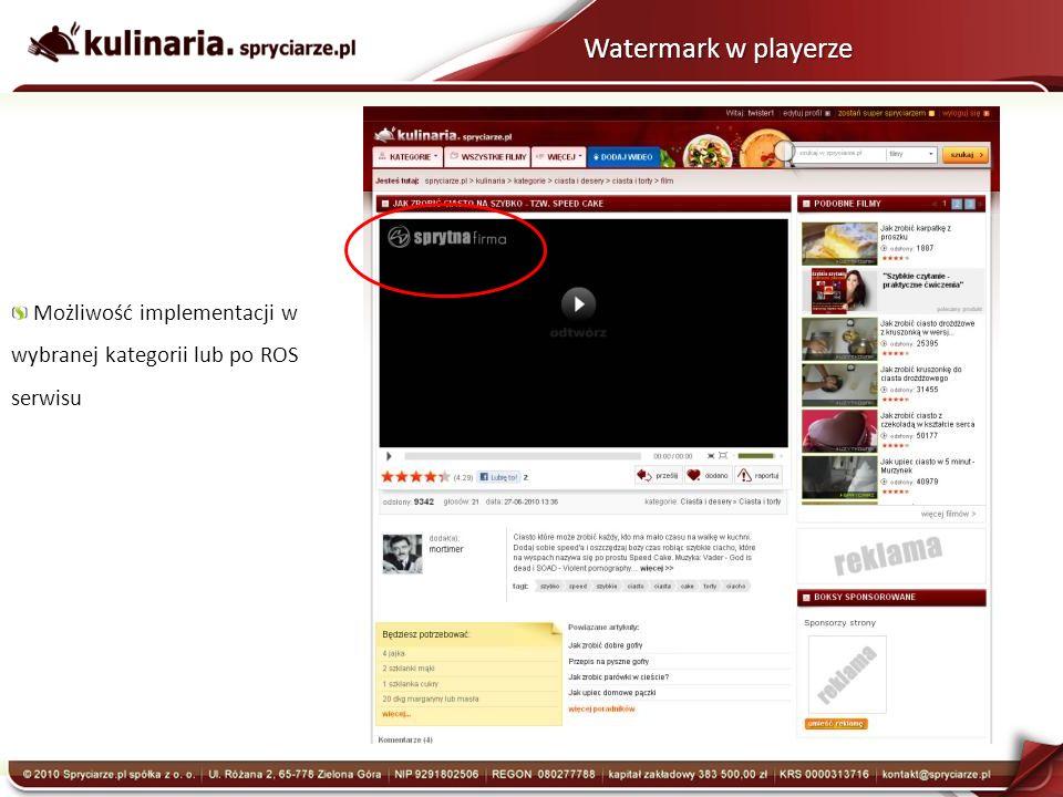 Watermark w playerze Możliwość implementacji w wybranej kategorii lub po ROS serwisu