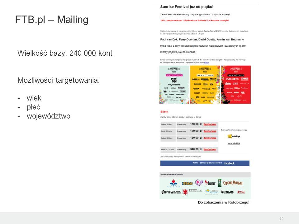 FTB.pl – Mailing 11 Wielkość bazy: 240 000 kont Możliwości targetowania: -wiek -płeć -województwo