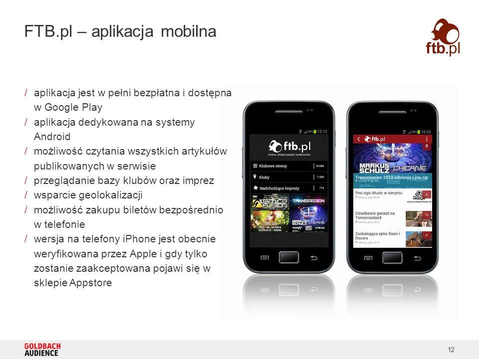 12 FTB.pl – aplikacja mobilna /aplikacja jest w pełni bezpłatna i dostępna w Google Play /aplikacja dedykowana na systemy Android /możliwość czytania