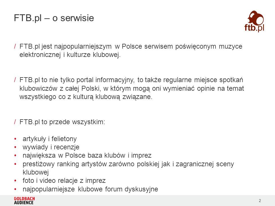 2 /FTB.pl jest najpopularniejszym w Polsce serwisem poświęconym muzyce elektronicznej i kulturze klubowej. /FTB.pl to nie tylko portal informacyjny, t