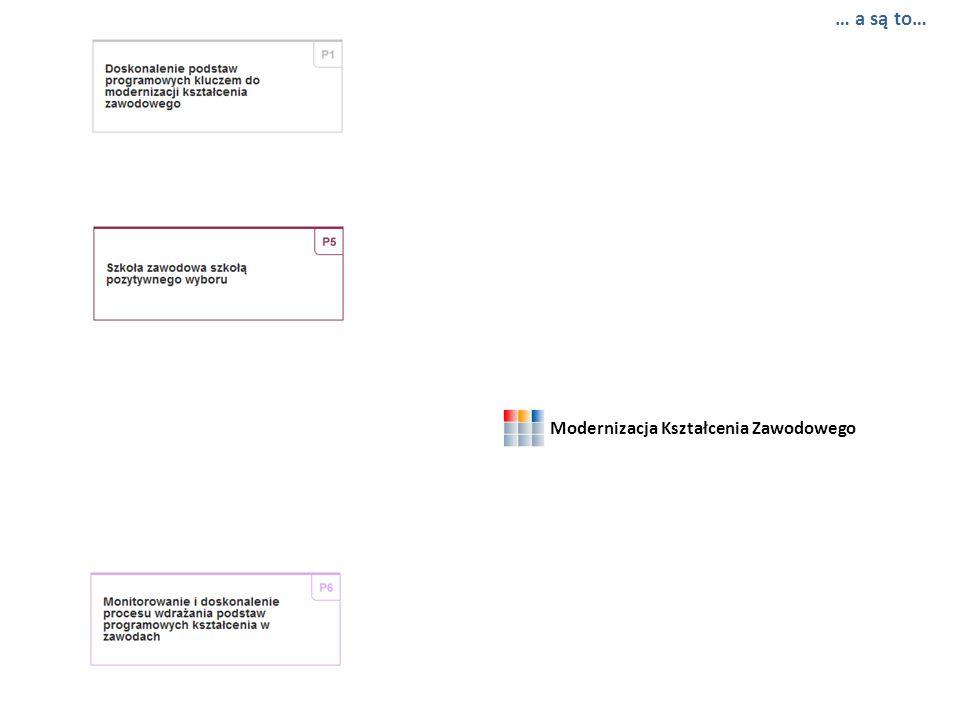 Modernizacja Kształcenia Zawodowego … 3 spośród wszystkich projektów mają szczególne znaczenie… … wypracowane w ramach nich rezultaty składają się na…