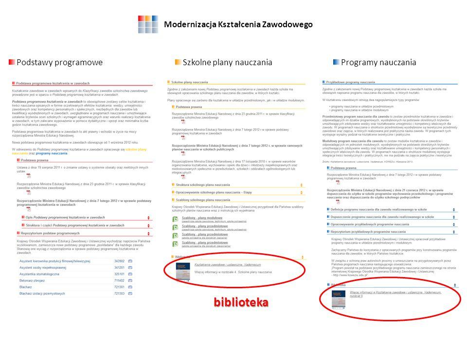 Modernizacja Kształcenia Zawodowego Podstawy programoweProgramy nauczaniaSzkolne plany nauczania repozytoria
