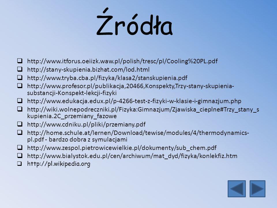 Źródła http://www.itforus.oeiizk.waw.pl/polish/tresc/pl/Cooling%20PL.pdf http://stany-skupienia.bizhat.com/lod.html http://www.tryba.cba.pl/fizyka/kla