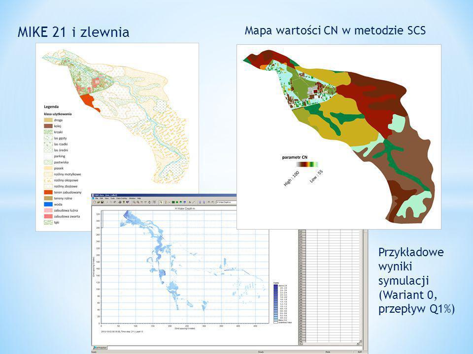 MIKE 21 i zlewnia Mapa wartości CN w metodzie SCS Przykładowe wyniki symulacji (Wariant 0, przepływ Q1%)