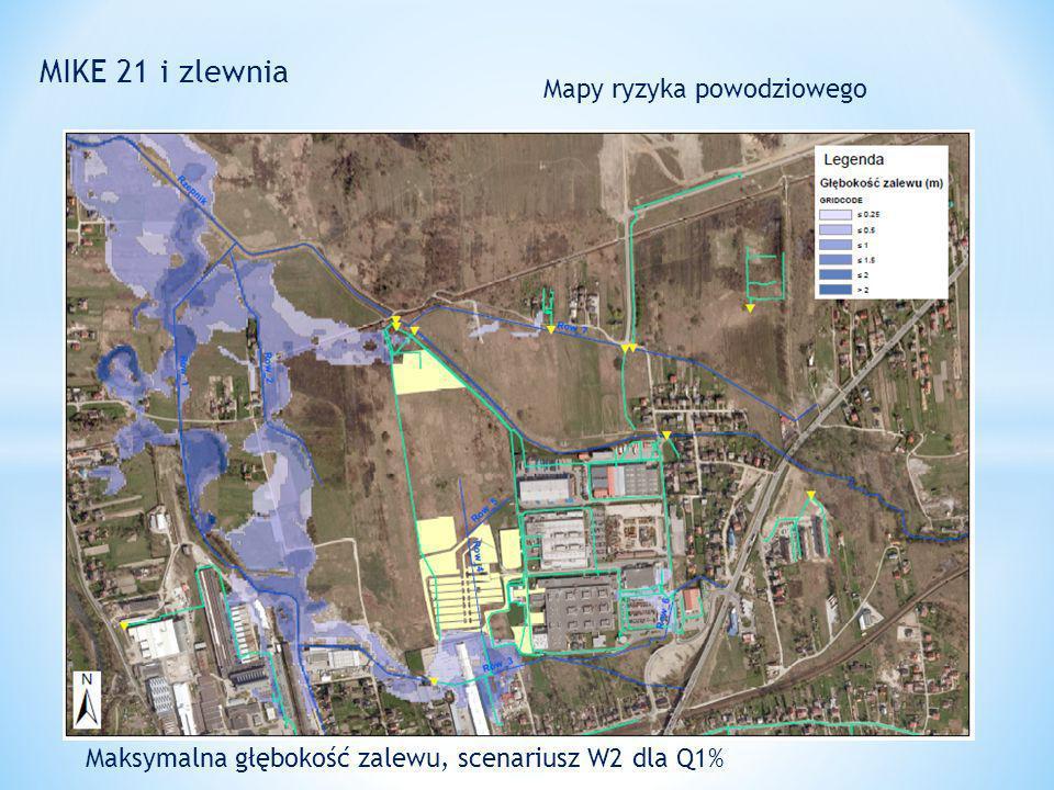 MIKE 21 i zlewnia Mapy ryzyka powodziowego Maksymalna głębokość zalewu, scenariusz W2 dla Q1%