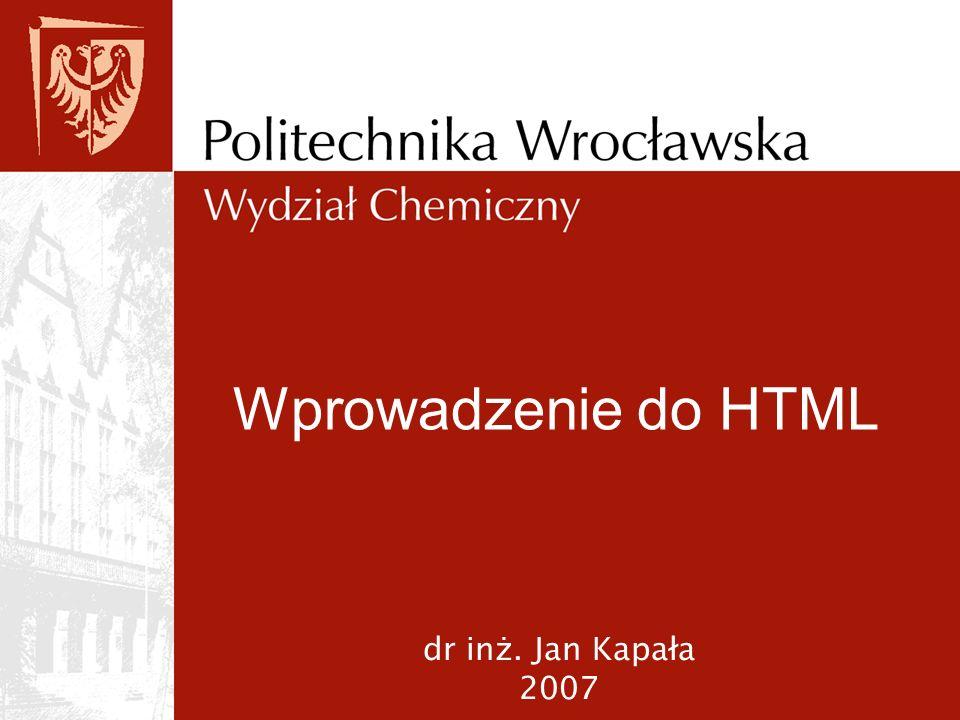HTML (Hyper Text Markup Language) jest językiem programowania, który umożliwia równoczesne: redagowanie tekstu umieszczanie obrazów w tekście natychmiastowe przełączanie się między różnymi fragmentami tekstu (tzw linki) generowanie treści interaktywnej implementowanie w tekście samodzielnych programów oraz elementów multimedialnych (film, dźwięk )