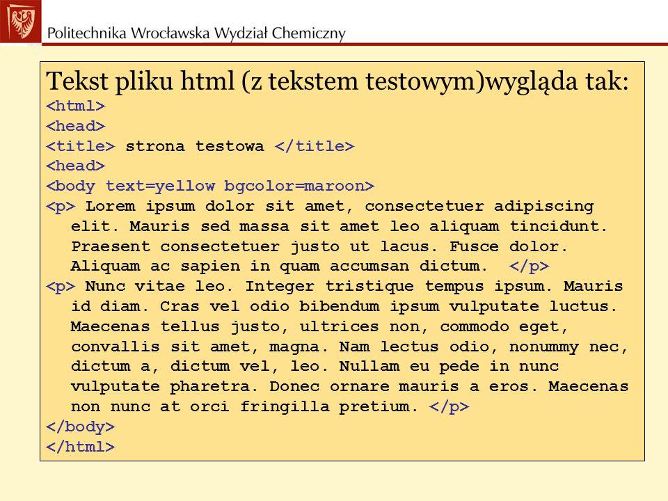 Tekst pliku html (z tekstem testowym)wygląda tak: strona testowa Lorem ipsum dolor sit amet, consectetuer adipiscing elit.
