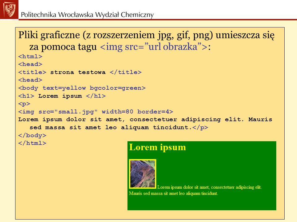 Pliki graficzne (z rozszerzeniem jpg, gif, png) umieszcza się za pomoca tagu : strona testowa Lorem ipsum Lorem ipsum dolor sit amet, consectetuer adipiscing elit.