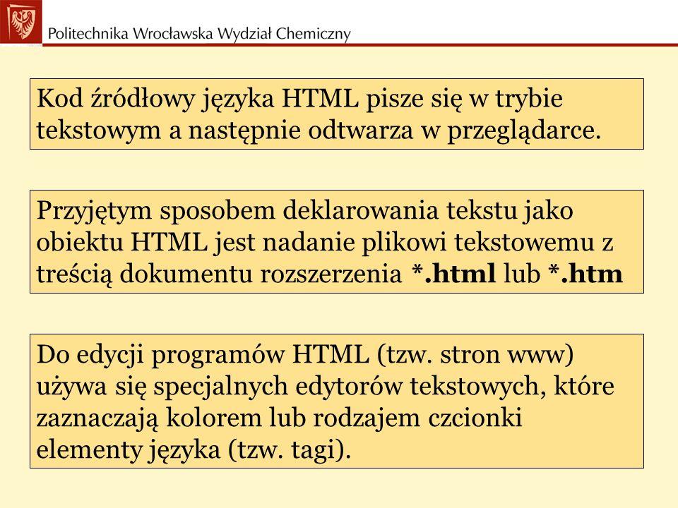Kod źródłowy języka HTML pisze się w trybie tekstowym a następnie odtwarza w przeglądarce.