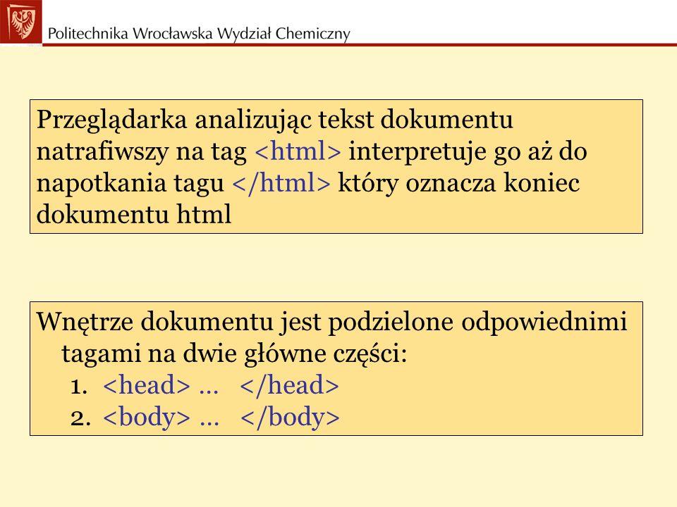 Część pliku pomiędzy tagami … powinna zawierać co najmniej tag tytuł strony, między którymi umieszcza się tytuł pokazywany w nagłówku przeglądanej strony.