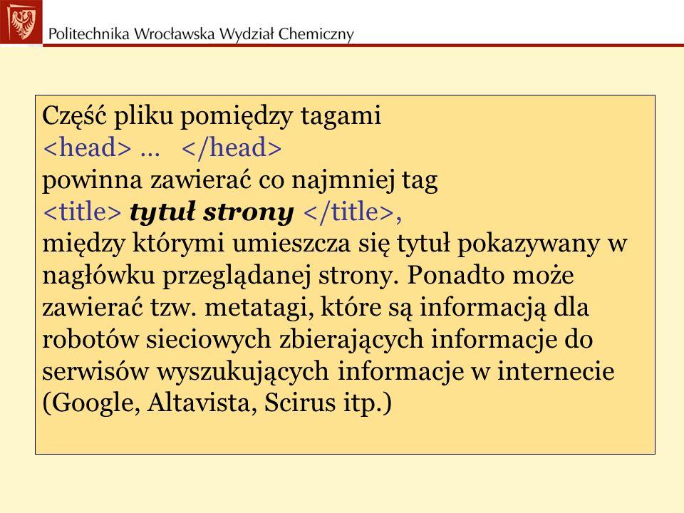 Część pliku pomiędzy tagami … Zawiera treść strony www zredagowaną za pomocą innych tagów.