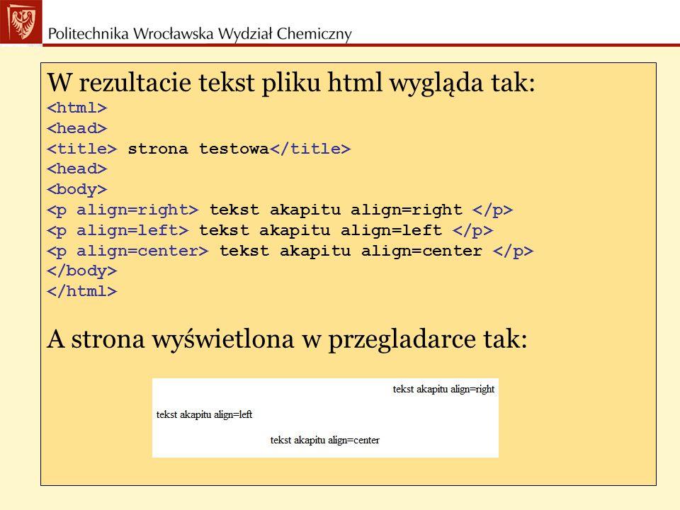 Główne atrybuty taga : Określajace kolor: text kolor tekstu bgcolor kolor tła link kolor odnośnika alink kolor uruchamianego odnośnika vlink kolor odnośnika odwiedzonego wcześniej Inne: background URL(odnośnik) do obrazka stanowiącego tło strony onload, onunload reakcja na załadowanie i opuszczenie dokumentu przez przeglądarkę