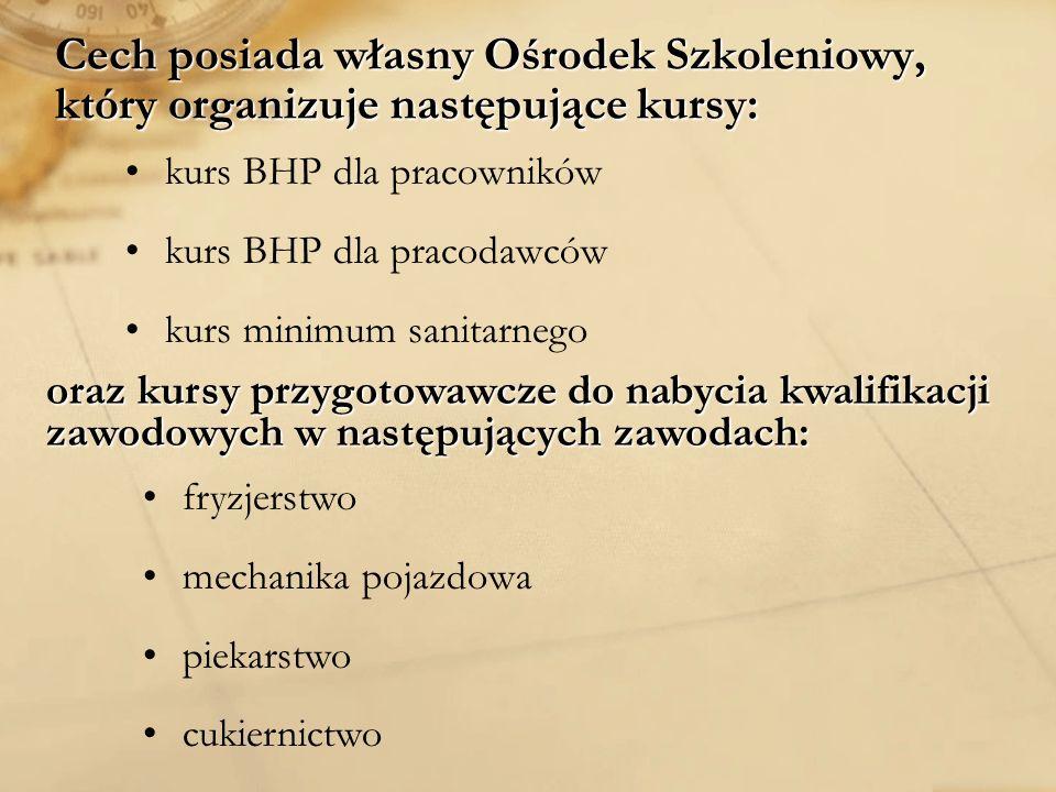 Cech Rzemiosł Różnych, Małej i Średniej Przedsiębiorczości w Sosnowcu funkcjonuje od 1917 roku ( pierwotnie pod nazwą Cech Rzemiosł Różnych w Sosnowcu) W Cechu zarejestrowanych jest 80 zakładów rzemieślniczych w następujących branżach: Motoryzacyjnej:Motoryzacyjnej: - blacharstwo, lakiernictwo, mechanika, elektromechanika Fryzjerskiej:Fryzjerskiej: - kosmetyka Spożywczej:Spożywczej: - cukiernictwo, piekarstwo Różnej:Różnej: -stolarstwo, fotograficzna, naprawa sprzętu AGD, elektromechanika silników, turystyka Cech jako osoba prawna wpisana jest do Krajowego Rejestru Sądowego pod numerem KRS: 74949 Od 1999 r.