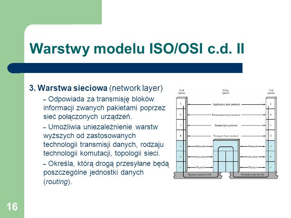 16 Warstwy modelu ISO/OSI c.d. II 3. Warstwa sieciowa (network layer) – Odpowiada za transmisję bloków informacji zwanych pakietami poprzez sieć połąc