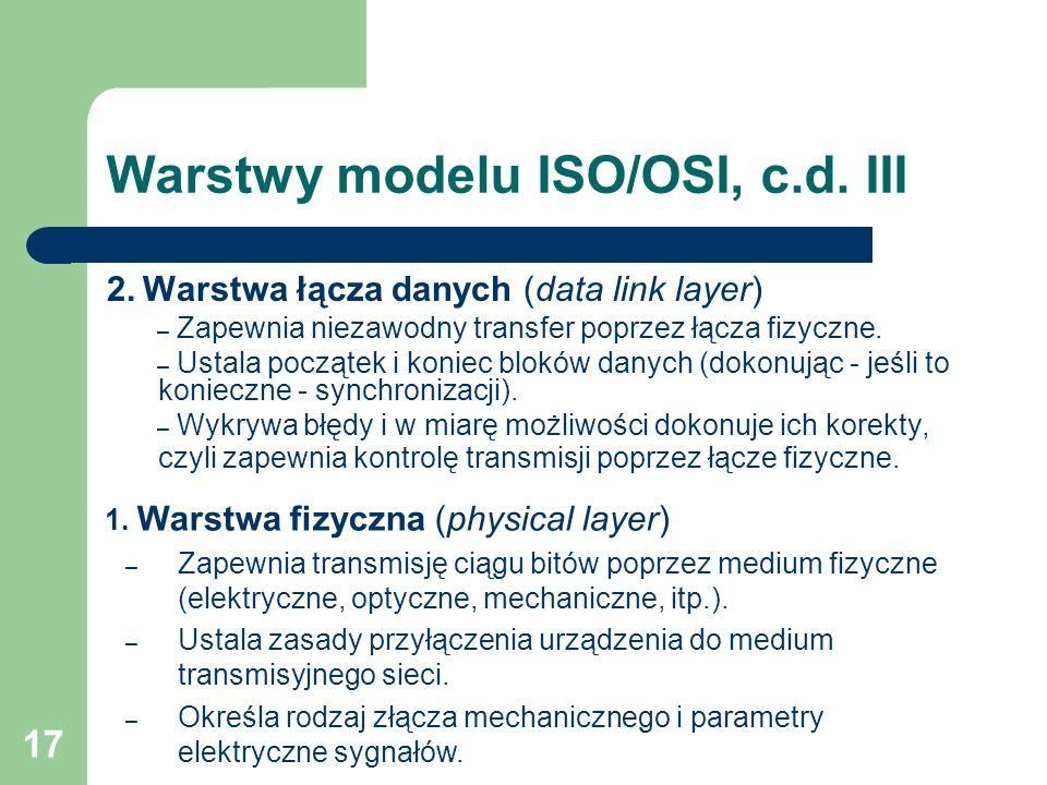 17 Warstwy modelu ISO/OSI, c.d. III 2. Warstwa łącza danych (data link layer) – Zapewnia niezawodny transfer poprzez łącza fizyczne. – Ustala początek