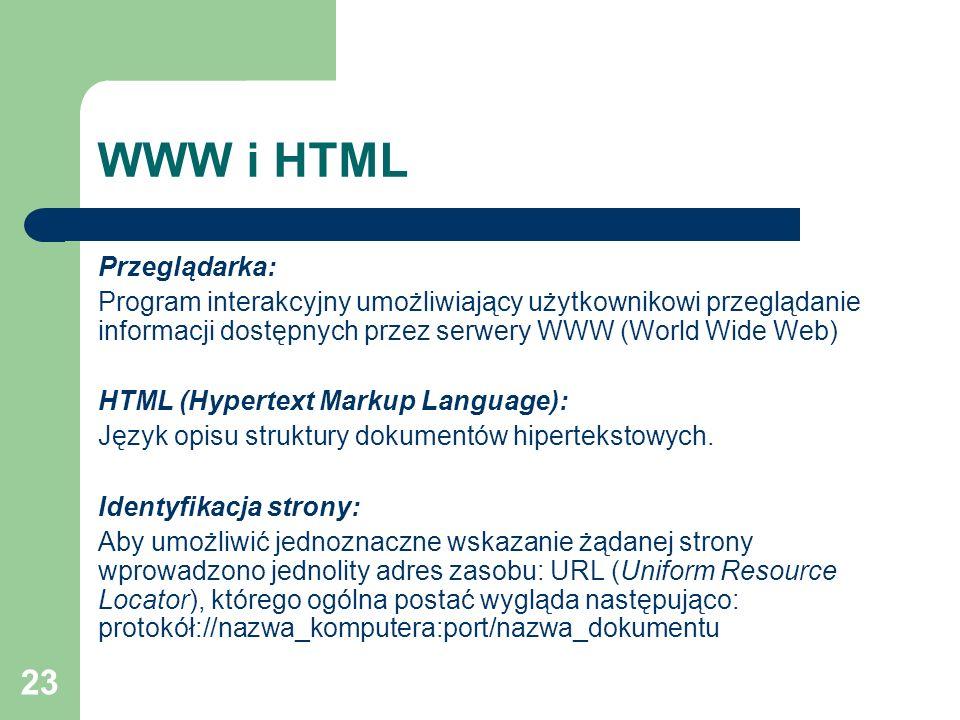 23 WWW i HTML Przeglądarka: Program interakcyjny umożliwiający użytkownikowi przeglądanie informacji dostępnych przez serwery WWW (World Wide Web) HTM