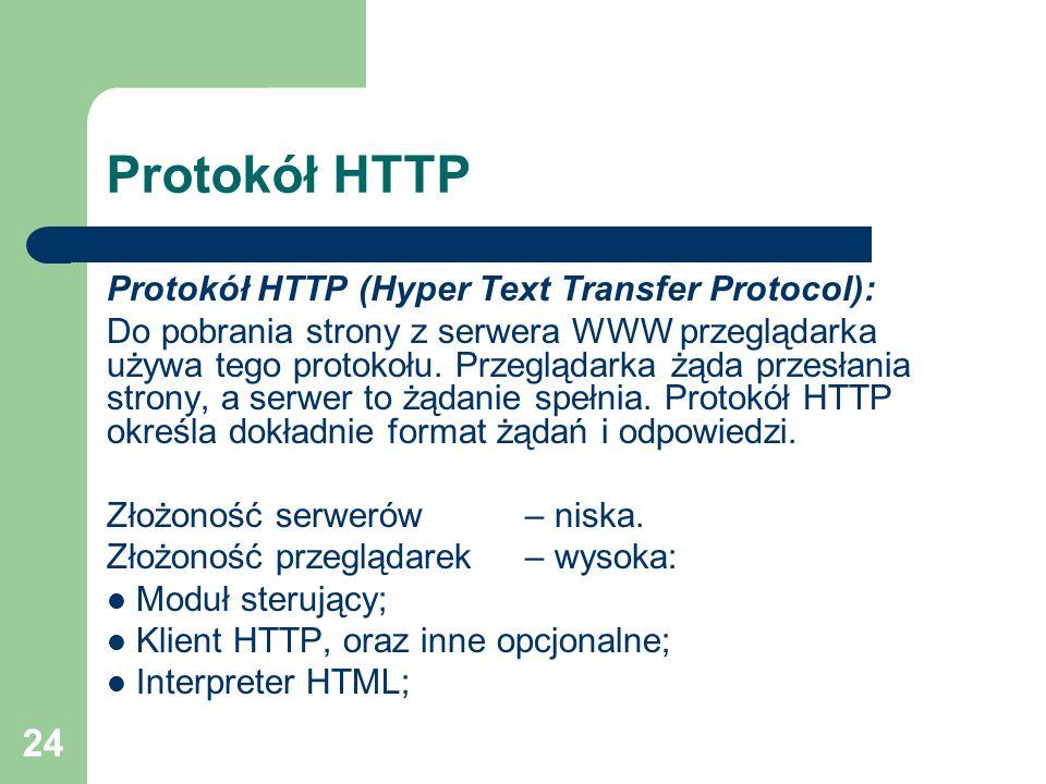 24 Protokół HTTP Protokół HTTP (Hyper Text Transfer Protocol): Do pobrania strony z serwera WWW przeglądarka używa tego protokołu. Przeglądarka żąda p