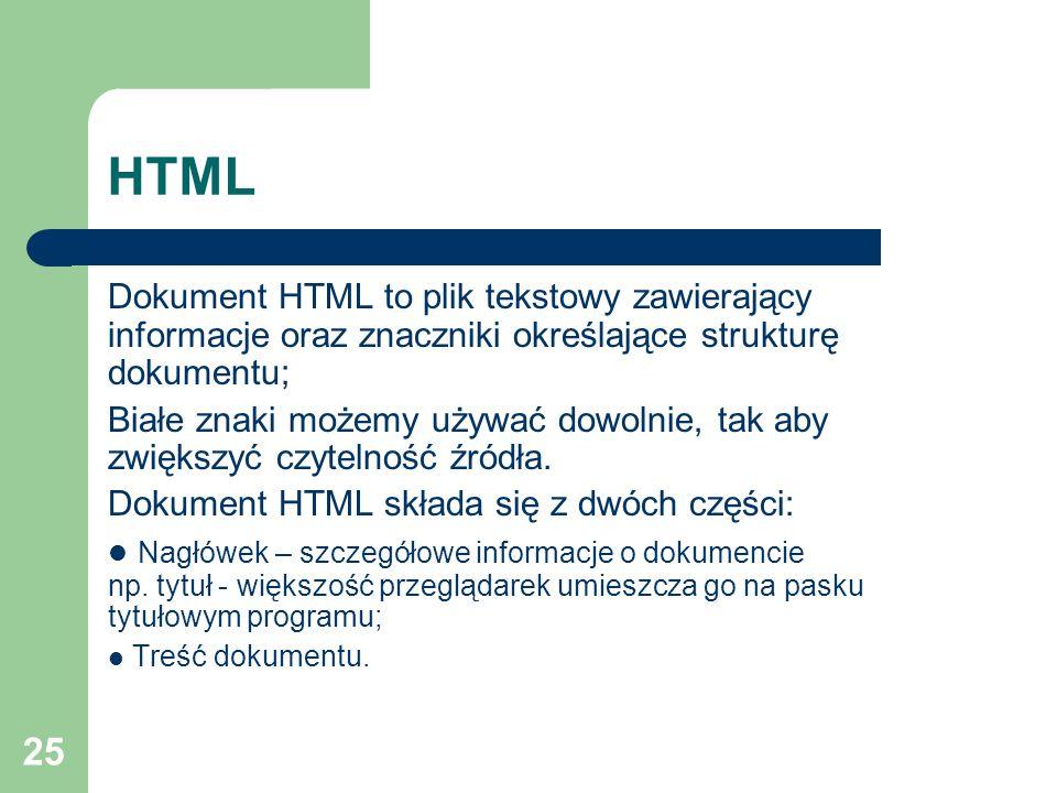 25 HTML Dokument HTML to plik tekstowy zawierający informacje oraz znaczniki określające strukturę dokumentu; Białe znaki możemy używać dowolnie, tak
