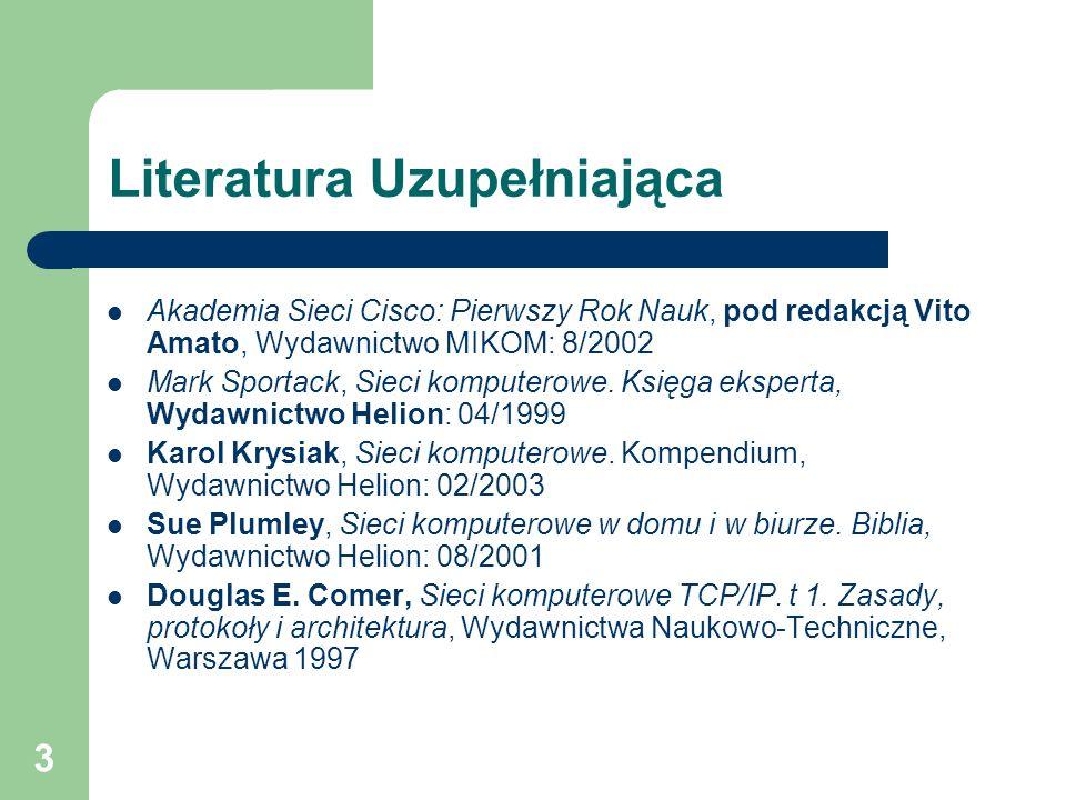 3 Literatura Uzupełniająca Akademia Sieci Cisco: Pierwszy Rok Nauk, pod redakcją Vito Amato, Wydawnictwo MIKOM: 8/2002 Mark Sportack, Sieci komputerow