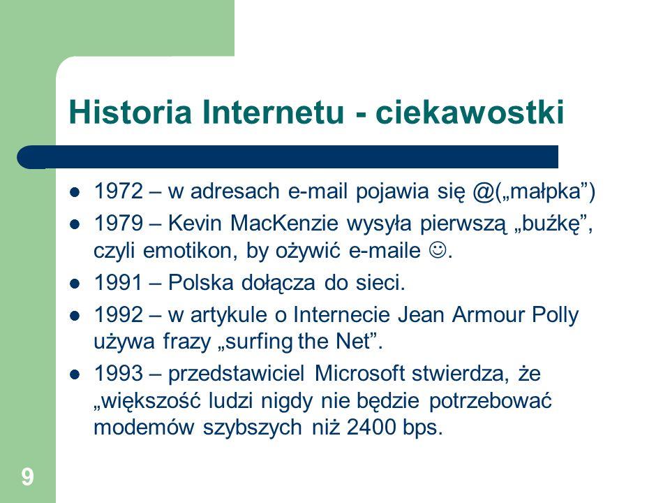 9 Historia Internetu - ciekawostki 1972 – w adresach e-mail pojawia się @(małpka) 1979 – Kevin MacKenzie wysyła pierwszą buźkę, czyli emotikon, by oży