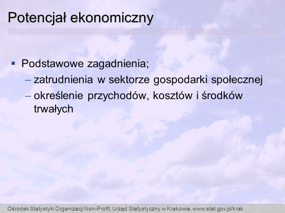 Ośrodek Statystyki Organizacji Non-Profit, Urząd Statystyczny w Krakowie, www.stat.gov.pl/krak Potencjał ekonomiczny Podstawowe zagadnienia; –zatrudnienia w sektorze gospodarki społecznej –określenie przychodów, kosztów i środków trwałych