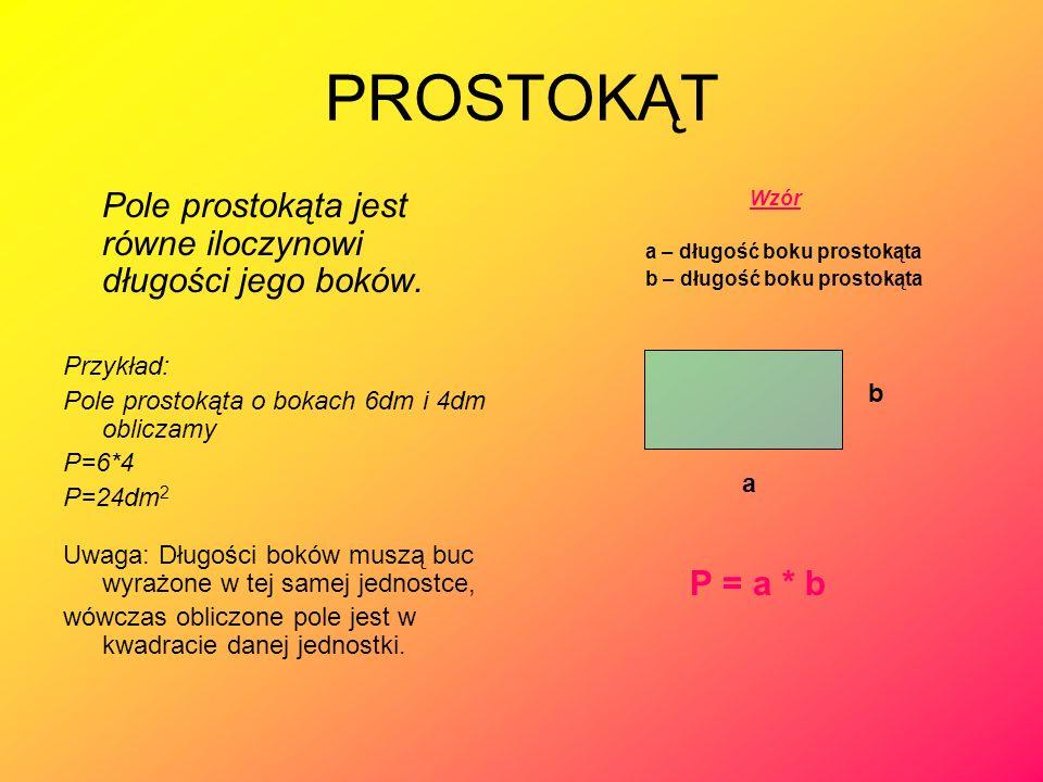 PROSTOKĄT Pole prostokąta jest równe iloczynowi długości jego boków. Przykład: Pole prostokąta o bokach 6dm i 4dm obliczamy P=6*4 P=24dm 2 Uwaga: Dług