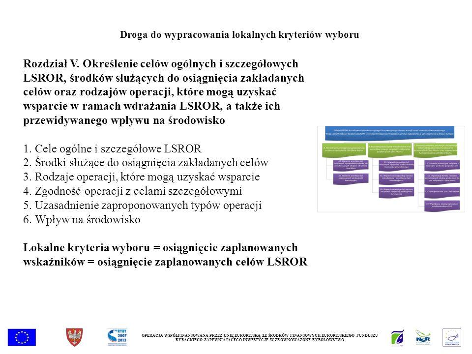 Rozdział V. Określenie celów ogólnych i szczegółowych LSROR, środków służących do osiągnięcia zakładanych celów oraz rodzajów operacji, które mogą uzy